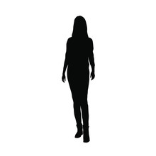 Silhouette Of A Woman Standing...