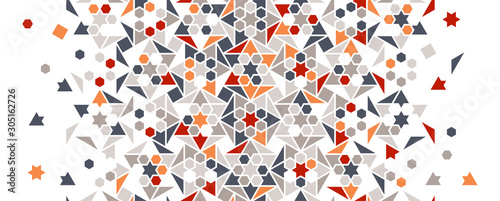 Arabic  turkish colorful vector seamless pattern. Geometric halftone texture with color tile disintegration