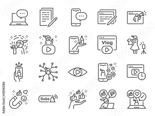 Cuadros en Lienzo Micro influencer and blog line icon set