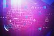 canvas print picture - Purple digital icons interface, global network