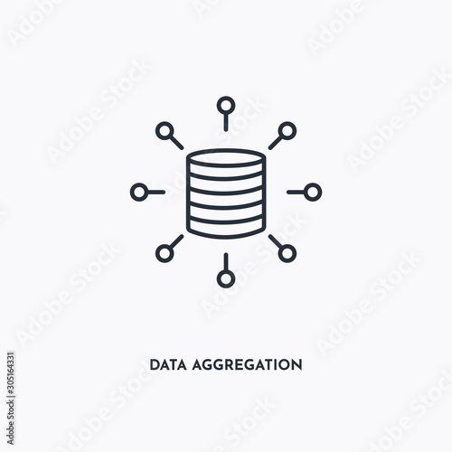 data aggregation outline icon Wallpaper Mural