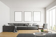canvas print picture White living room with poster gallery