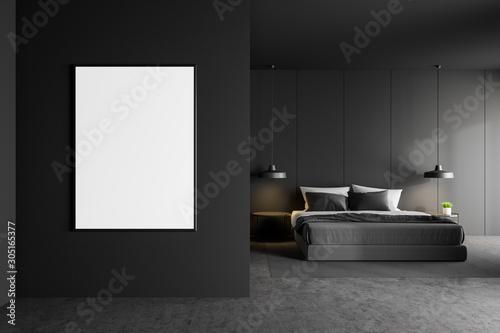 Fototapeta Poster in gray master bedroom interior obraz