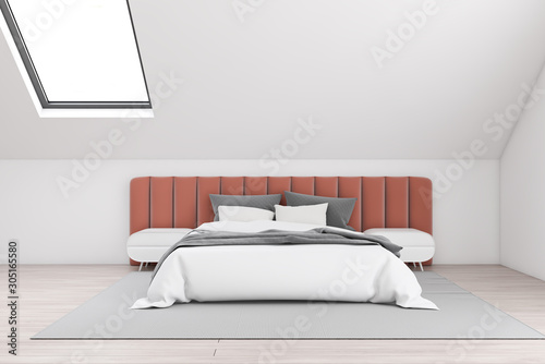 Attic master bedroom with orange bed Slika na platnu