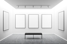 White Art Gallery Interior Wit...