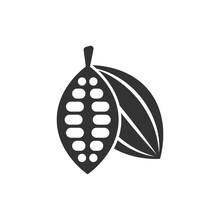 Cocoa Bean Icon In Flat Style. Chocolate Cream Vector Illustration On White Isolated Background. Nut Plant Business Concept.