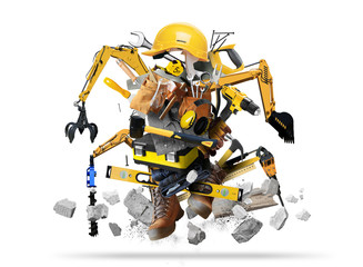 Huge construction robot, tools with construction machinery in grunge style