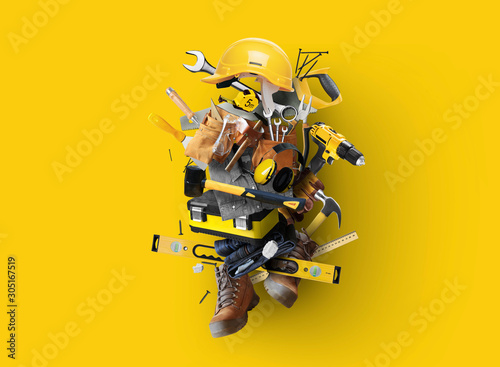 Construction tools and instruments, a concept on the theme of tools Fototapet