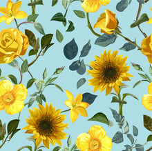 Yellow Flower Seamless Pattern