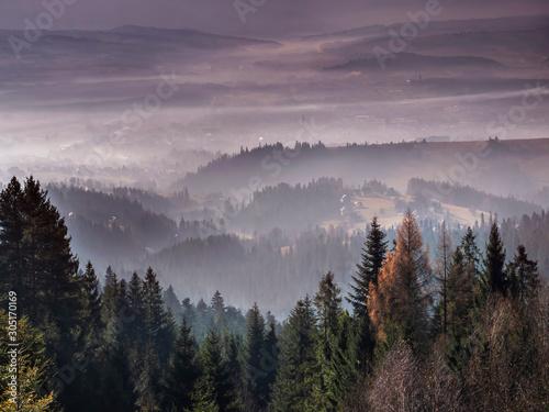 Nowy Targ - Smog - Widok z Gorców okolice Bukowiny Obidowskiej - fototapety na wymiar