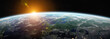Leinwanddruck Bild - View of blue planet Earth in space 3D rendering elements of this image furnished by NASA