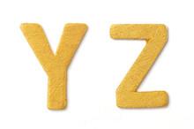 Gold Font Alphabet  Y, Z On White