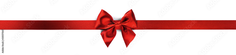 Fototapety, obrazy: Red ribbon bow isolated on white