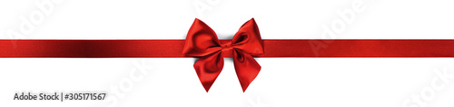 Obraz Red ribbon bow isolated on white - fototapety do salonu