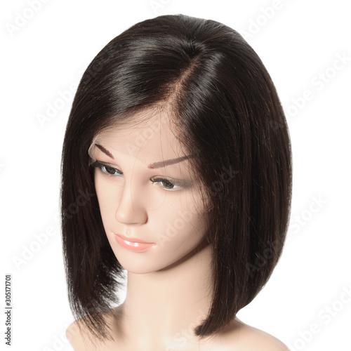 Side part short straight black human hair lace weaves  bob wigs Fototapeta