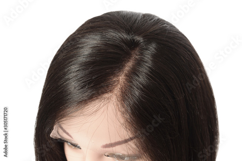 Canvas Side part short straight black human hair lace weaves  bob wigs