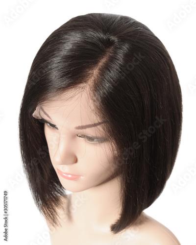 Fotografia Side part short straight black human hair lace weaves  bob wigs