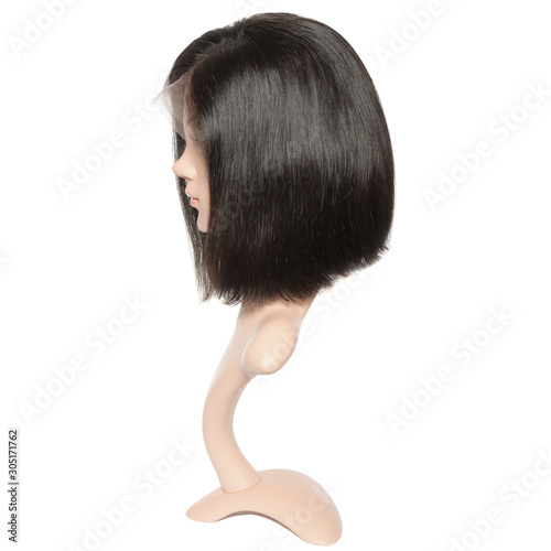 Foto Side part short straight black human hair lace weaves  bob wigs