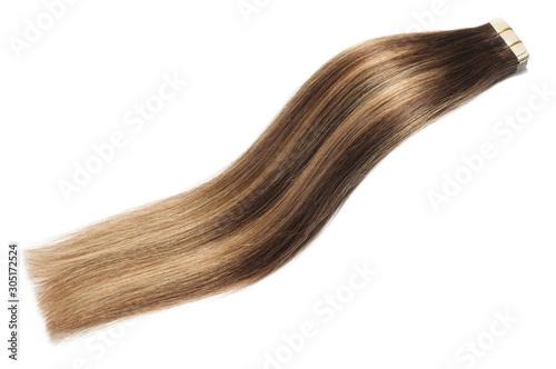 Straight tape in auburn mix light brown highlights human hair extensiosn Canvas Print