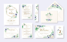 Set Of Floral Wedding Invitation Card, Invite, RSVP, Details, Thank You, Table Number, Menu, Envelope Address Template. White Rose And Anemone Flower.
