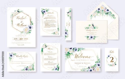 Slika na platnu Set of floral wedding invitation card, invite, RSVP, Details, Thank you, Table number, Menu, envelope address template