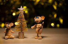 Fir Tree Rat Table Gold Bokeh
