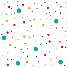 Polka Dots Colorful Pattern On White Background And Texture