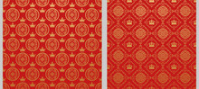 Two Background Picture Is In Chinese Japanese Style. Red Wallpaper For Your Design. Vector Illustration.