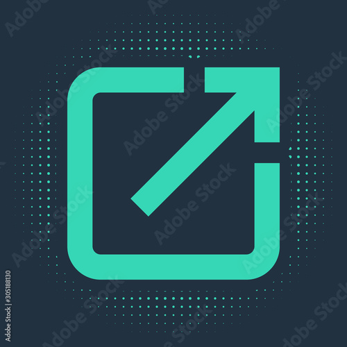 Photo Green Open in new window icon isolated on blue background