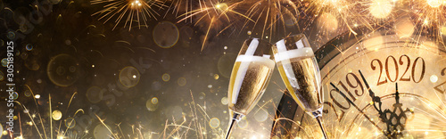 New Year 2020 - Midnight With Champagne And Fireworks Wallpaper Mural