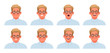 Set of different emotions business man. Happiness, surprise, anger, sadness. Collection of facial expressions