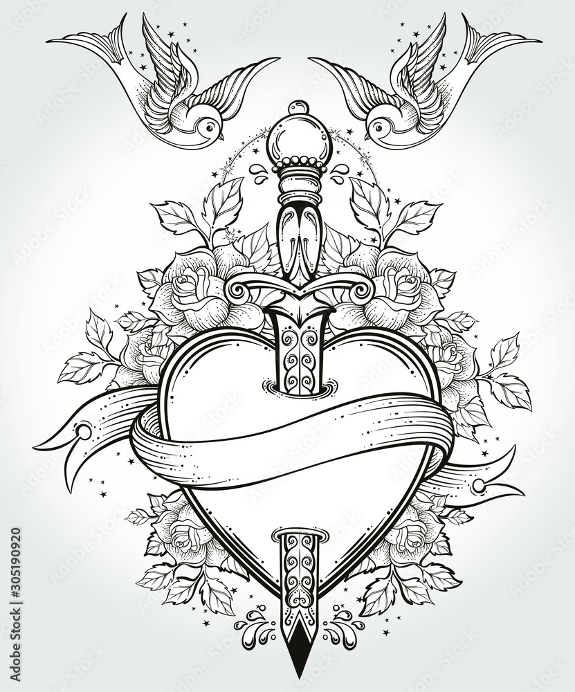 Fototapeta Isolated vector illustration of heart, knife, roses,birds and banner.Tattoo art, graphic, t-shirt design, postcard, poster design, coloring books,spirituality, occultism. Isolated vector illustration.