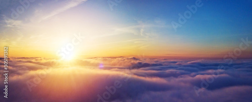 Obraz Beautiful sunrise cloudy sky from aerial view - fototapety do salonu