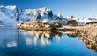 canvas print picture - Winter in Sakrisøy auf den Lofoten, Norwegen