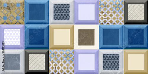 Fototapeta home wall decorative  art wall tiles design background, obraz na płótnie