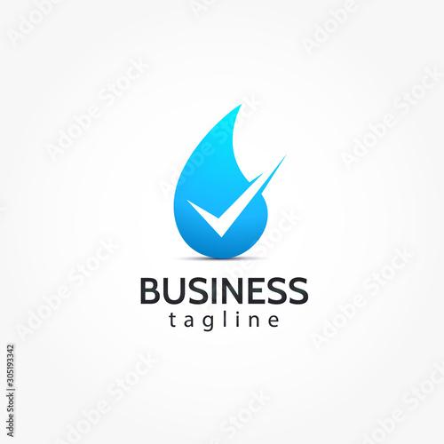 Fotografía  pure water drop check mark logo design