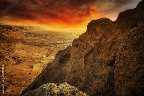 Masada (Massada) is one onf Israel's most popular tourist attractions: Ancient F Canvas Print