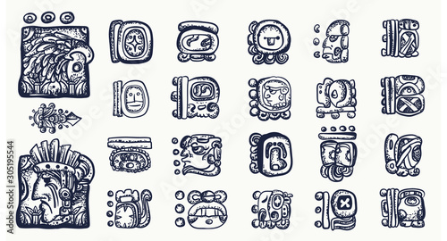 Cuadros en Lienzo Mayan alphabet