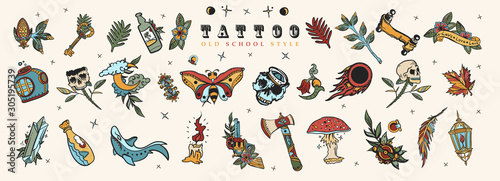 Tattoo elements collection Canvas-taulu