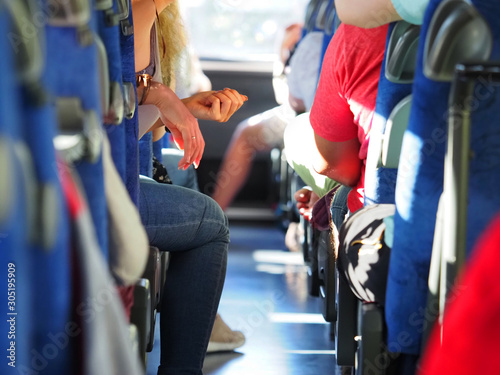 Photo People in the intercity bus