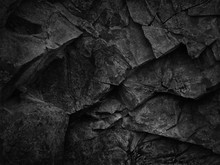 Black Grunge Texture. Dark Gray Stone Background. Black Rock Texture. Fragment Of A Mountain Close-up. Abstract Geometric Gray Black White Pattern Background. Black Stone Backdrop.
