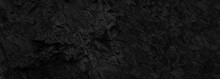 Black Stone Background. Dark Banner With Beautiful Rock Texture. Copy Space.