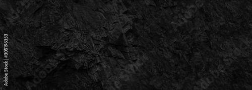 Black stone background. Copy space. Dark rock texture. Black grunge background. - 305196353