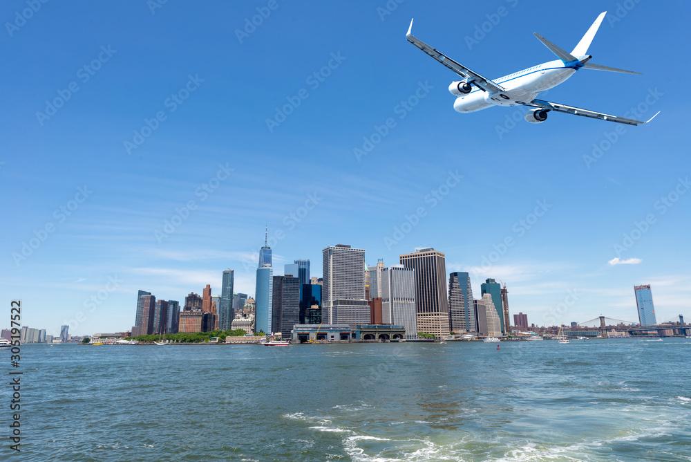 Fototapeta Skyline of lower Manhattan view from ferry