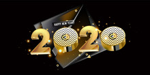 Happy New Year 2020 - New Year Shining Background With Gold Element And Glitter