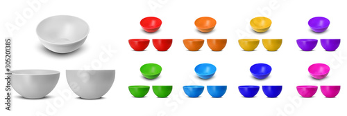 Valokuva Color plastic rice and noodle bowl
