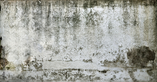 Fotografie, Tablou Old chipped white wall texture with moisture - dirty and creepy pattern for back