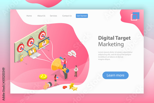 Cuadros en Lienzo Isometric flat vector landing page template of digital target marketing, targeted advertising, brand promotion campaign