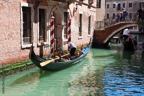 Spoed Fotobehang Gondolas Venice, romantic view, with traditional gondola - Italy