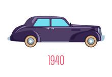 Retro Car Of 1940, Vintage Veh...